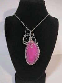 Beautiful wire wrapped pink agate slice pendant