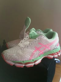 white-green-pink Asics running shoes Middleburg Heights, 44130
