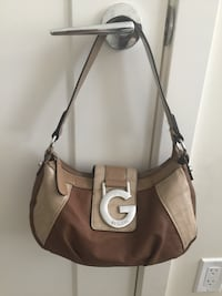 brown and beige Guess leather shoulder bag