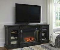 Mallacar Black XL TV Stand with Infrared Fireplace Houston