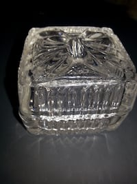 Glass Present Box small gift trinket bow christmas candy dish SPECIAL GIFT Rockville