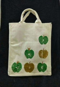 white green and brown tote bag