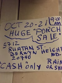 HUGE PORCH SALE OCT 20-21  rain or shine  CASH /carry. Only. Too many items to photo here. Antiques collectibles vintage other types too   Antique cradle chairs dolls rugs lamps furniture vintage heavy silver plate paintings pictures mirrors  TREASURES FO Berwyn Heights, 20740