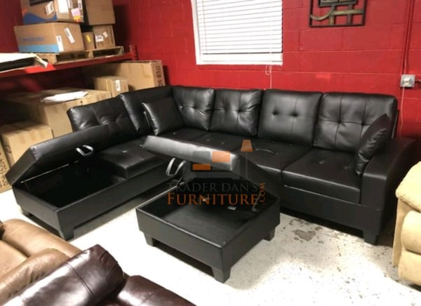 Brand New Black Leather Sectional Sofa