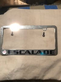 Gray steel escalade license plate frame