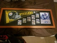 Steelers cards and flag framed Norco, 92860