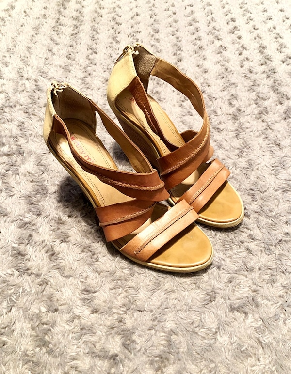 Luxury Rebel tan wedges paid $120 size 7 1
