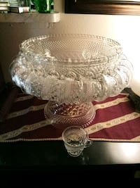 Vintage Punch Bowl Set Service for 18 - Sectors by ANCHOR HOCKING Lake Forest, 92630