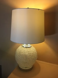 round beige table lamp with drum shape beige lamp shade Chicago, 60659