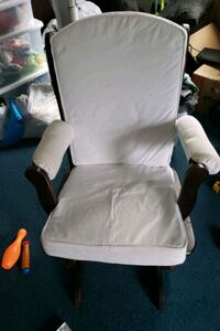 white padded brown wooden glider chair Reston, 20191