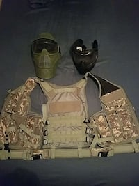 Camouflage tactical airsoft  vest with two masks Cape Coral, 33993
