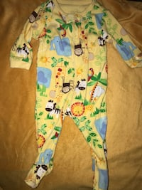 0-3 months safari footie pajama