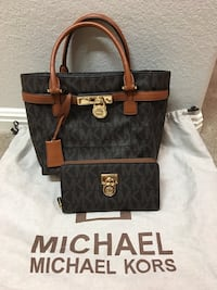 brown and black Michael Kors leather tote bag Round Rock, 78665