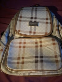 brown and white plaid backpack Vancouver