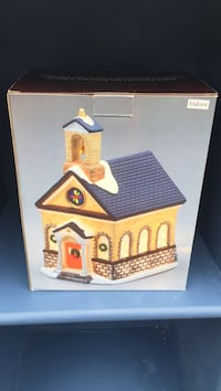 yellow and blue ceramic house miniature Waterford, 12188
