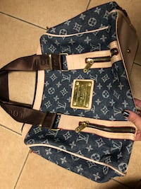 Tote bag in pelle blu e nera