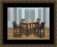 Marble tall table with 4 leather chairs  Adelphi