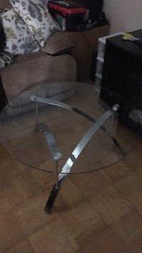 Round clear glass-top table with gray steel base Greenbelt, 20770