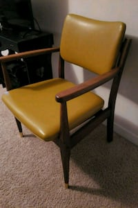 brown wooden framed yellow leather padded chair Fuquay Varina, 27526