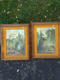 two brown wooden framed painting of flowers Bakersfield