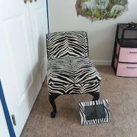 Zebra print stool with matching picture frame.  South Riding, 20152