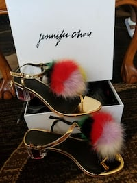 pair of gold Jennifer Chou t-strap sandals with box Hawthorne, 90250