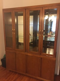 Brown wooden framed glass display cabinet Brampton, L6T 1X1