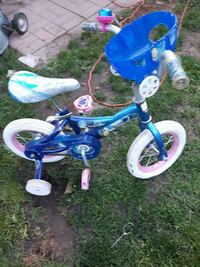 toddler's blue and white bicycle with training wheels Oakville, L6L 2W4