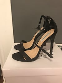 pair of black leather open-toe ankle strap heels Toronto, M6S 3R2