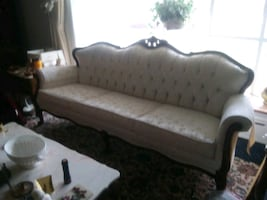 WHITE SOFA W/MATCHING CHAIR