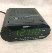 black and gray Sony digital alarm clock Sterling, 20164