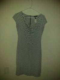 white and black striped scoop-neck sleeveless dress 755 mi