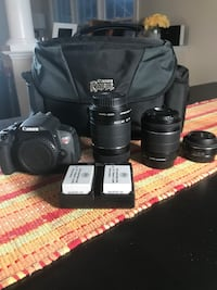 Canon eos rebel t5i body, kit lens, bag, 3 batteries, charger and 32gb SD card. +150 for efs 24mm macro lens and efs 55-250mm telephoto zoom lens. 29 km