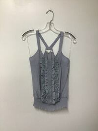Women's MINE Cotton/rayon gray ruffle front top...Size-small Manasquan, 08736