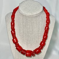 Genuine Ox Blood Red Coral Beaded Necklace with Sterling Silver Clasp