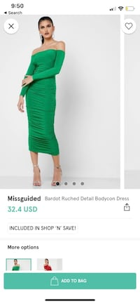 Misguided green bodycon dress Toronto, M1H 3H5
