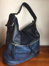 Dark blue and blue two colours leather hobo bag two compartments inside linen and pockets with zipper clean comfortable condition almost brand new