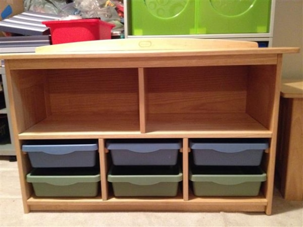 Used Little Tikes Mission Design Storage Center Wooden Unit For Sale