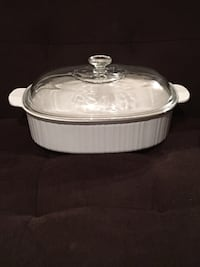 CorningWare 4-qt Oval Roaster / Casserole Dish w/ Glass Lid—French White Vienna, 22180