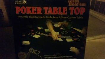 Poker table top and case of chips