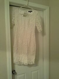 women's white floral scoop-neck mini dress