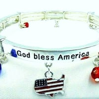 NWT Patriotic God Bless America Stretch Bracelet ESCONDIDO