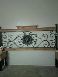 brown and black floral bed headboard