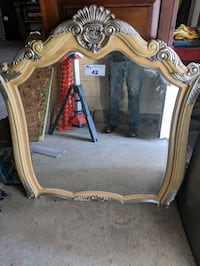 Large baroque style beveled glass mirror