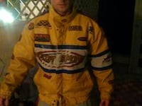 men's yellow, black, and white striped zip-up jacket
