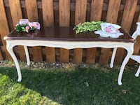 Brown and white wooden table
