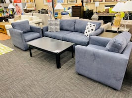 Blue Levi Sofa & 2 Chair Set