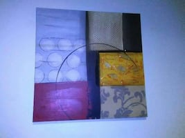 yellow, black and white abstract canvas painting