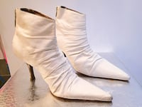 Bebe White Leather Boots, Size 7/7.5
