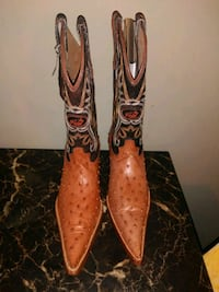 pair of brown-and-black leather cowboy boots Fresno, 93727